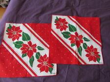 Vera New Vintage 50 th -60 th Christmas Cotton Printed Poinsettia Napkins lot 2