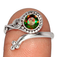 Faceted Chalama Black Opal 925 Sterling Silver Ring Jewelry s.8 BR20578 237E XGB