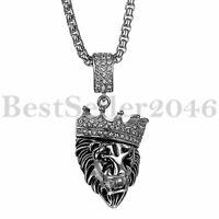 Herren Löwe König Krone Edelstahl Anhänger Rolo Kabel Weizen Kette Halskette