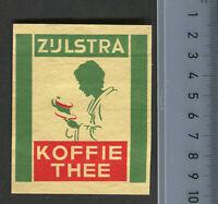 Zijlstra Koffie Thee Safety Matches Dutch Made Vintage Matchbox Label Big Size