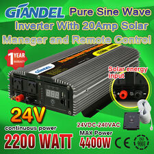 Pure Sine Wave Power Inverter 2200W/4400W 24V-240V With Solar Charging Manager
