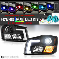 For 04-15 Nissan Titan/04-07 Armada Black OLED Headlight+16mils Color RGB Bulbs