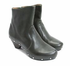 JOHN FLUEVOG SHOES RULES LOW PATTI BOOTS STUDDED CLOG BOOTIES DARK GREEN 7 $399