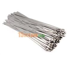 100pcs/lot Stainless Steel Exhaust Wrap Coated Locking Cable Zip Ties 4.6x300mm