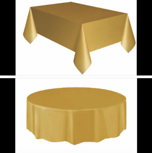 Rectangle & Round Plastic Disposable Table Cloth Covers Cover Christmas Party