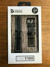 New Genuine FOR Samsung Gear S3 or S2 BLACK LEATHER BY STRAP STUDIO TUSCANY 22MM