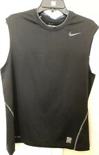 Nike Pro Combat Men's Sleeveless Workout Shirt Dri-Fit Fitted Size L Blk/Gray E