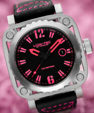 Lum-Tec Watch G10 Mens w/ Pink & Black Leather Limited Edition AUTHORIZED DEALER