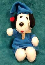 """Rare Vintage 1980 Lucky Pups Plush 10""""  Dog w/ blue pajamas Snoopy?"""