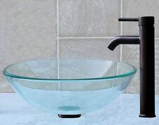 Bathroom Natural Clear Glass Vessel Sink Oil Rubbed Bronze Faucet + Drain T12E3