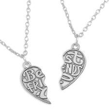 2 Part Best Friends Love Heart Shape Pendant Necklace Silver Sisters Big Little