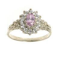 Pink Topaz Ring Engagement ring Sterling Silver Made in Jewellery Quarter B'ham