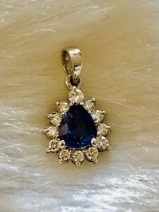 Blue Sapphire 0.25ct 12 Diamond Cluster Pear Drop Pendant 18ct White Gold