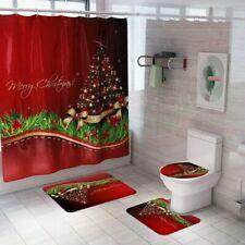 Merry Christmas Bathroom Set Xmas Tree Santa Claus Pattern Shower Curtain