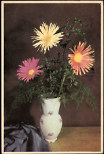 Artist Postcard Chrysanthemums flowers in a Vase. Posted 1963