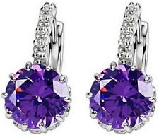 Stylish Silver Plated Round Purple Stone Diamante Earrings Pierced Ears Stud E8
