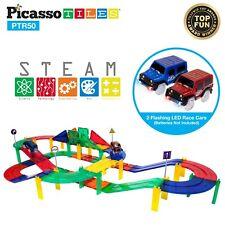PicassoTiles 50pc Magnetic 3D Color Building Blocks Tiles Race Track Set Ptr50