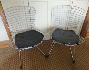 A pair of Retro Vintage Wire Chrome Harry Bertoia style chairs