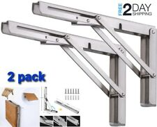 20 Inch Folding Shelf Brackets Heavy Duty Stainless Steel Collapsible For Garage