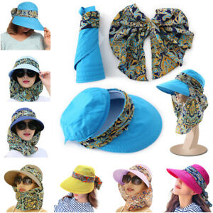 New Wide Brim Sun Hat for Women UV Protection Cap Beach Hat Flap Neck Face Cover