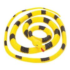 Fake Realistic Looking 48 Inch Curled Up Rubber Yellow and Black Krait Snake