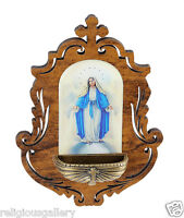 Wooden Our Lady of Grace Holy Water Font, Catholic Religious Gifts Favors,NEW
