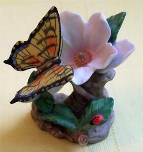 TIGER SWALLOWTAIL PAPILIO GLAUCUS GENUINE PORCELAIN FIGURINE DECORATED BY HAND