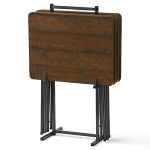 5-PIECE FOLDING TRAY TABLE Mainstays Home Modern Portable Stand Tables Fold Tray