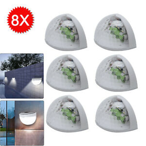 8 X LED SOLAR POWER GARDEN FENCE LIGHTS WALL OUTDOOR SECURITY LAMPS COLD  LIGHT