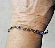 14K Yellow Gold 3.50 Tanzanite and Opal Inlay Bracelet GIA Appraisal 9.1 Grams