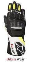 Alpinestars SP-8  SP8 V2 Black/Wht/Fluo Leather Racing & Sport Motorcycle Gloves