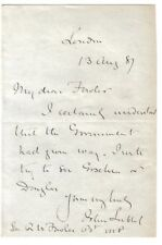 John Lubbock - Baron Avebury - 1881? letter: will try to see Goschen or Douglas