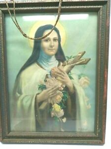 ANTIQUE St. Therese of Lisieux Lithograph Art AMP Chgo, Inc. 1927 PJM Hollinger