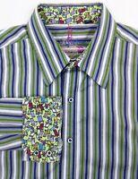 Robert Graham Men's XL Blue Striped Shirt Long Sleeve Flip Cuff Beach Chairs