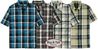 Big & Tall Men's Dickies Relaxed Fit Plaid Camp Shirt 3XL – 6XL 3XLT – 6XLT