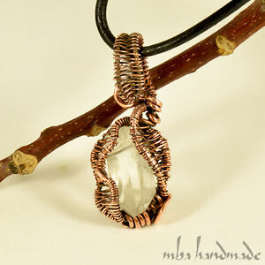 Natural Stone Quartz Crystal Point Copper Wire Wrapped Vintage Pendant Leather