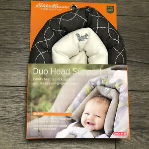Eddie Bauer Duo Head Support for Baby Car Seat Stroller & Carrier NEW Gray White