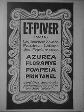 PUBLICITÉ 1925 L-T-PIVER ESSENCES SAVONS POUDRES LOTIONS AZUREA - ADVERTISING