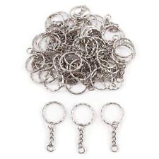 50x Anneau 25mm pour porte-cles porte clefs chaine 30mm metal argente bijou Q3S3
