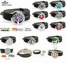 30MM Twist Aromatherapy Essential Oil Diffuser Locket Leather Strap Bracelet