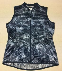 Womens NIKE Running Aeroloft 800 Sleeveless Full Zip Puffer Vest LARGE Blue Camo