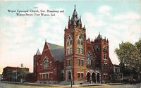 FORT WAYNE INDIANA WAYNE EPICOPAL CHURCH BROADWAY & WAYNE ST POSTCARD c1908