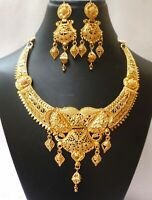 22K Gold Plated Indian Red Crystal Step Party Wedding Necklace Earrings Set h