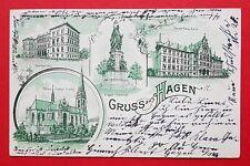 Litho AK HAGEN 1907 Siegesdenkmal, Gymnasium, Gewerbeschule, Kirche   ( 30894