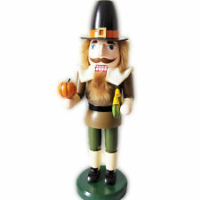 The Pligrims Wooden Christmas Nutcracker Holding with Corn Pumkin
