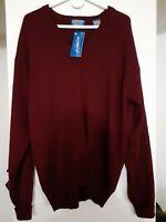 New Pendleton MENS V-Neck Pullover Sweater Sz L 100% WOOL Long Sleeves Burgundy