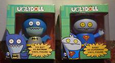 2 NEW UGLY DOLLS UGLYDOLLS VINYL FIGURE LOT, BABO AS SUPERMAN ICE-BAT AS BATMAN
