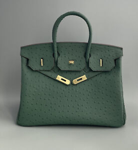 Classic Ostrich Embossed Leather Handbag with Gold Tone Hardware