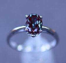 14K White Gold 8 x 6MM Chatham Created Alexandrite Solitaire Engagement Ring 6.5