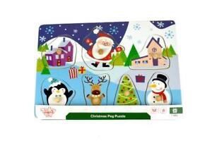 NEW Tooky Toy Children's Educational Wooden Peg Puzzle - Christmas